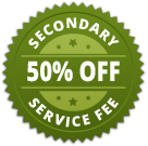50% off secondary service fees